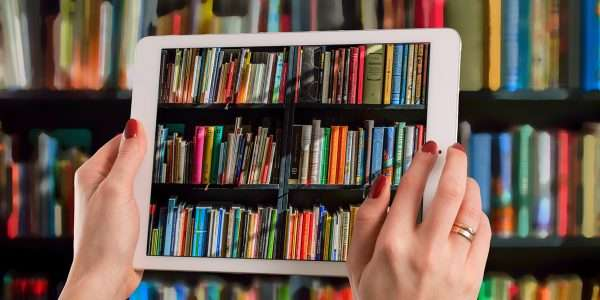 Tablet taking a photo of bookstore